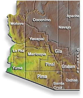 Map of Arizona with County boundaries